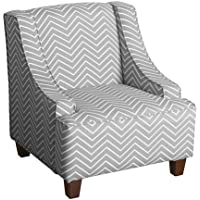 Cameron Juvenile Swoop Arm Accent Chair Kids Upholstered Chair Grey - Homepop
