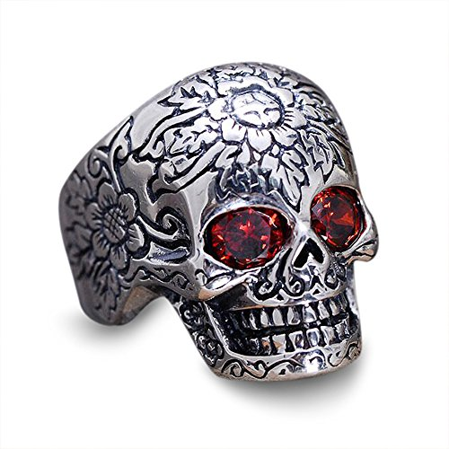(MetJakt 925 Sterling Silver Skull Ring Inlaid Garnet with Pattern for Vintage Punk Rock Thai Silver Heavy Motorcycle Men Jewelry (11))