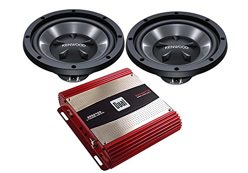 """Kenwood Two KFC-W112S 12"""" Subwoofers with 1600 Watt Bass Amplifier XPA2100 Package with a Free SOTS Air Freshener"""