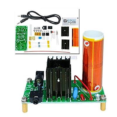 Phoncoo 15W Mini Tesla Coil Plasma Speaker Tesla Kit Music Wireless Transmission Board Module DC 15-24V Plasma Stereo Speaker DIY Kit: Toys & Games