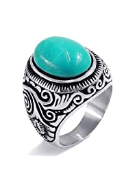 Elfasio Men's Women's Natural Oval Turquoise Stainless Steel Ring Fashion Jewelry Size 8-15
