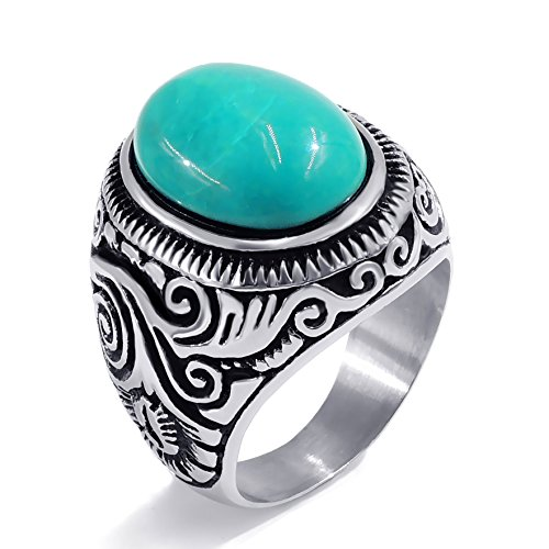 Elfasio Men's Women's Natural Oval Turquoise Stainless Steel Ring Fashion Jewelry Size 15