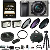 Sony Alpha a6000 Mirrorless Camera w/ 16-50mm Lens & 64GB Accessory Bundle - Graphite