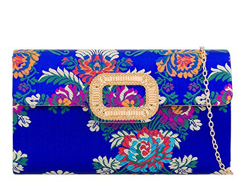 Clutch Haute Haute Bag Diva for Yellow Royal for Embroidered Blue qXCwPfa