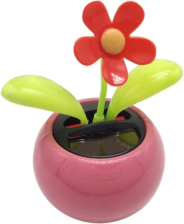 Fun Solar Powered Dancing Flower in Pot Bobble Toy Car Decor Swing Sunflower Office Home Decoration - Pink