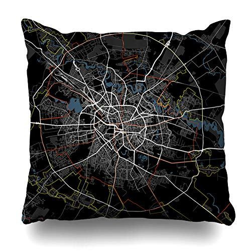 Ahawoso Throw Pillow Cover Map Red Administrative Black White Bucharest Graphic City Romania Roads Atlas Bucuresti Capital Zippered Pillowcase Square Size 18 x 18 Inches Home Decor Pillow Case