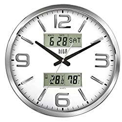 hito Extra Large Oversized Silent Non-ticking Wall Clock- Glass Cover, Date, Week, Indoor Temperature Humidity (16 inches, Chrome+ LCDs)