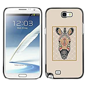 Be Good Phone Accessory // Dura Cáscara cubierta Protectora Caso Carcasa Funda de Protección para Samsung Note 2 N7100 // Zebra Abstract Lines Framed Beige Pattern