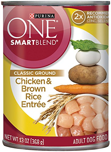 Purina ONE SmartBlend Wet Dog Food, Classic, Ground Chicken & Brown Rice Entrée, 13-Ounce Can, Pack of (Purina One Chicken And Rice)