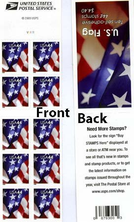 2009 US FLAG #4396 Complete Booklet of 10 x 44 cents US Postage Stamps