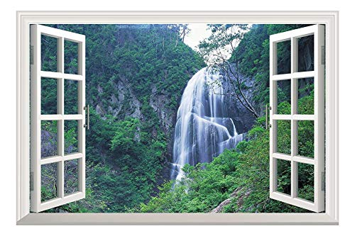 Grand Waterfall Green Mountain Open Window Mural Wall Sticker