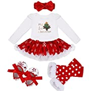 YiZYiF Baby Girls' Reindeer Tutu Costume Crhistmas Party Dress Up (6-9 Months, White Tree)