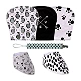 Clearance Sale, Burp Cloths and Bibs Set -for Girls and Boys, Premium Quality Organic Cotton, Excellent Baby Shower for Newborns