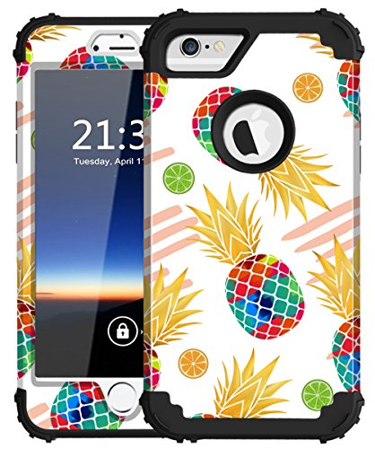 iPhone 6s Case, iPhone 6 Case, Hocase Shockproof Silicone Rubber+Hard Plastic Hybrid Full Body Protective Phone Case for iPhone 6/6s with 4.7-inch Display - Watercolor Pineapple/Black
