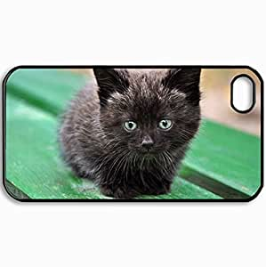 Customized Cellphone Case Back Cover For iPhone 4 4S, Protective Hardshell Case Personalized Cat Kitten Cats Black