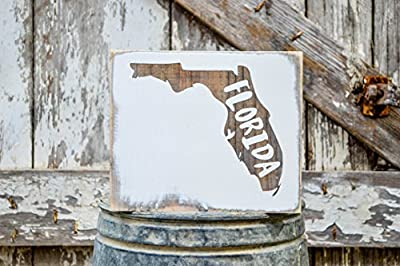 MINI Florida Rustic Wood Signs - Whitewash State Signs - Home State Decor - Personalized State Sign 6x7in
