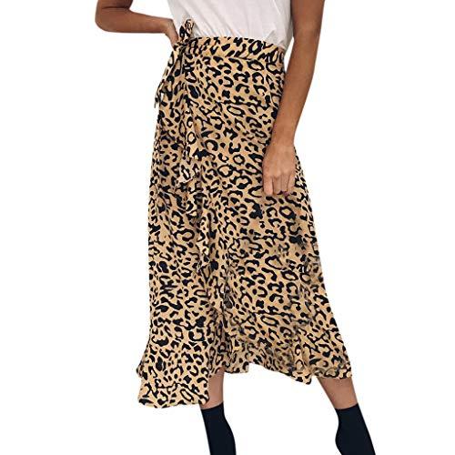 AopnHQ Women's Fashion Casual High Waist Bag Hip Lotus Leaf Leopard Skirt Yellow