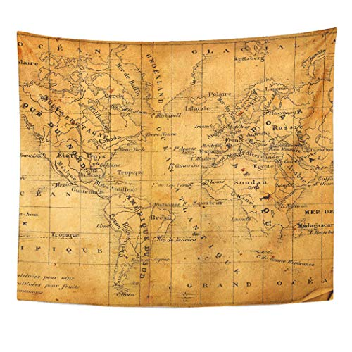 (Emvency Decor Wall Tapestry World Ancient Map of North and South America Africa Europe Nautical Vintage Wall Hanging Picnic for Bedroom Living Room Dorm 60x50 Inches)