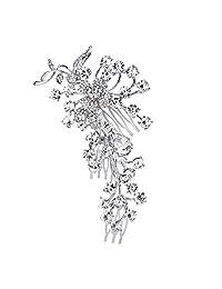 Ever Faith Wedding Silver-Tone Flower Leaf Clear Austrian Crystal Hair Comb A12025-1