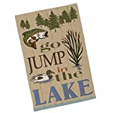 DII Design Imports Kitchen Towel ''Go Jump in the Lake'' Printed Dishtowel. 18 X 28''. 100% Cotton. Hanging Loop Machine Wash