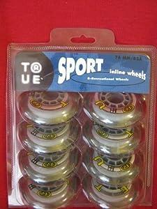 True Sport 76mm 82A 8-pack in-line rollerblade wheels Size: 76mm Model: by...