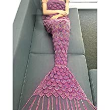 ISELL King Queen Size Crochet Mermaid Tail Blankets, Fish-Scale Pattern Sofa Quilt Throws with Wave (Multi-pink)