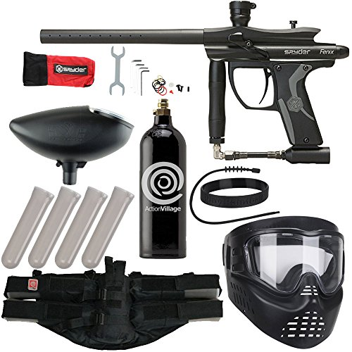 - Action Village Kingman Spyder Fenix Epic Paintball Gun Package Kit (Black)