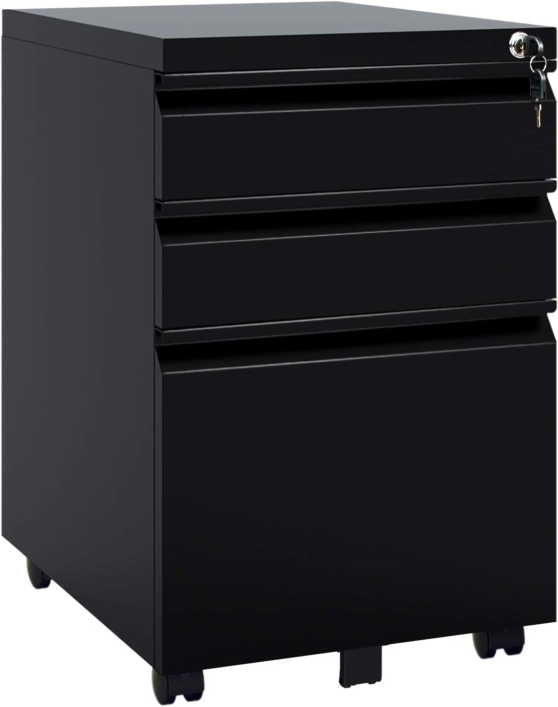 DEVAISE 3 Drawer Mobile File Cabinet with Lock, Metal Filing Cabinet Legal/Letter Size, Fully Assembled, Black