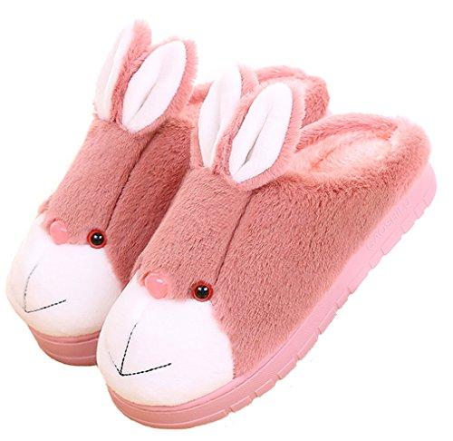 Blubi Womens Pluche Gesloten Teen Bunny Slippers Comfort Nieuwigheid Slippers Huis Slippers Rood