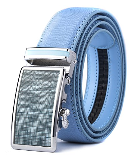 Xhtang Men's Ratchet Belt Automatic Buckle Genuine light - Blue Belt Buckle