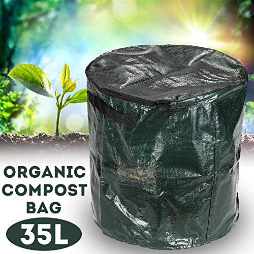 Yard Waste Bags 35L Compost Bin Compostable Bag Garden Kitchen Organic Waste Disposal Composter Cloth Planter Waste Disposal Bag