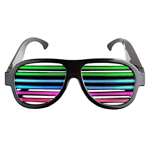 Lamaston Music & Sound-Activated LED light Party Glasses, USB Rechargeable LED flashing sunglasses of Party Decoration Shutter Shades Eyewear for Clubbing, Bar, Rave, Birthday, Concert & Disco (Black)]()
