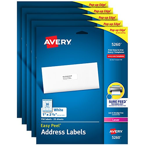 "Avery Address Labels with Sure Feed for Laser Printers, 1"" x 2-5/8"", 3,750 Labels – Great for FBA Labels (5 Packs 5260)"
