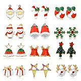 Women Christmas Earring Stud - 12 Pairs Hypoallergenic Christmas Gifts for Teens Girls Kids Cute Festive Earrings Jewelry Set Party Present Gold-tone (Red)