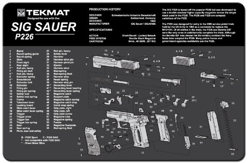 Tekmat Sig Sauer P226 Cleaning Mat   11 X 17 Thick  Durable  Waterproof   Handgun Cleaning Mat With Parts Diagram And Instructions   Armorers Bench Mat   Black And Grey