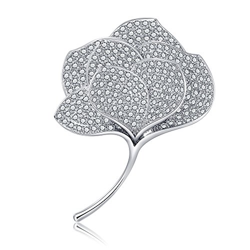 YIY Beauteous Leaf Brooch Pins with Platinum Plated Copper/Brass 3A CZ Crystal Rhinestone Diamond Jewelry Brooches for Hat, Robe, Dress, Ashes, Bouquet, Collar, Wedding, Women, Lady, (Platinum Set Brooch)
