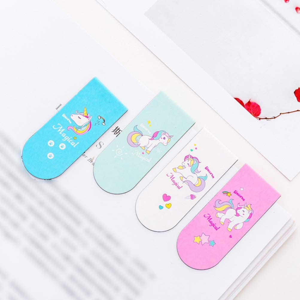 TOYANDONA Cartoon Bookmarks Unicorn Pattern Magnetic Bookmark for Student School Office Stationery 12Pcs