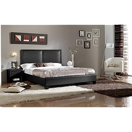 Modern Platform Full Size Bed In Black Faux Leather