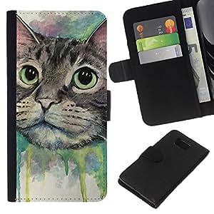 LECELL--Cuero de la tarjeta la carpeta del tirón Smartphone Slots Protección Holder For Samsung ALPHA G850 -- Pintura del gato feliz --