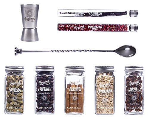 Gin and Tonic Premium Gift Set of Cocktail Botanicals and Spices with Spoon & Dispenser | Mixology Flavoring Kit