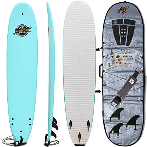 Soft Top Surfboard + Bag Package - Best Foam Surf Board for Beginners, Kids, and Adults - Soft Top Surfboards for Fun & Easy Surfing - 7' Ruccus, 8' Verve & 8'8 Heritage Surfboards All Wax-Free (Best Soft Top Surfboard)