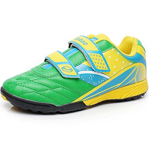 Tiebao Jungen Hart Boden PU Leder Fußball Schuhe, Grün, 35