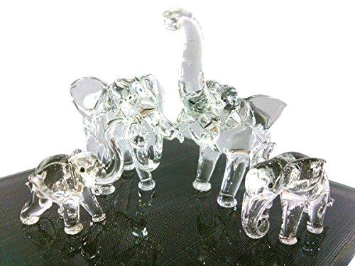 Sansukjai Elephant Family Figurines Animals Hand Blown Glass Art Collectible Gift Decorate