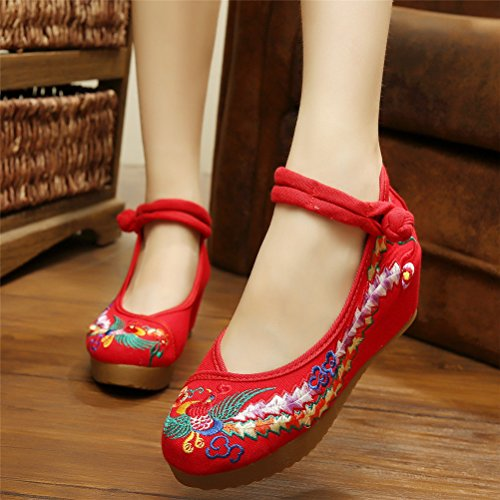 Shoes Red Cheongsam Qhome Oxfords Chinese Phoenix Embroidered Women's Rubber Sole vSqPZZ