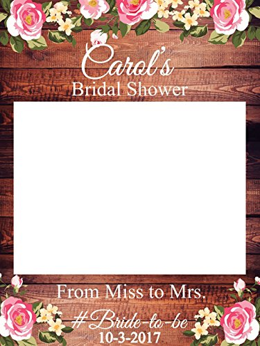 Custom Floral Bridal Shower Photo Booth Frame - Sizes 36x24, 48x36; Personalized Rustic Bridal Shower Decorations, Bridal Shower Photo Prop, wooden Bridal Shower, Handmade Party Supply Photo - Wooden Online Frames