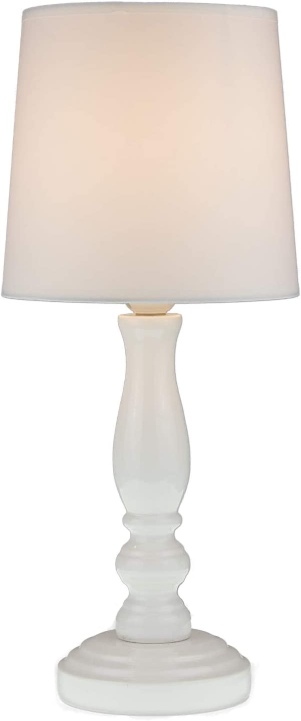 Chloe Table Lamp White by Light Accents - White Lamps for Bedrooms - Night  Stand Lamp for Bedroom - Bedside Table Lamp with Fabric Bell Shade (Pure