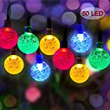 50 LED Solar Powered Outdoor String Lights 22ft Multi Color White Crystal Ball Chrismas Globe Lights Decorative Lighting for Garden, Patio, Yard, Home, ChrismasTree, Partie