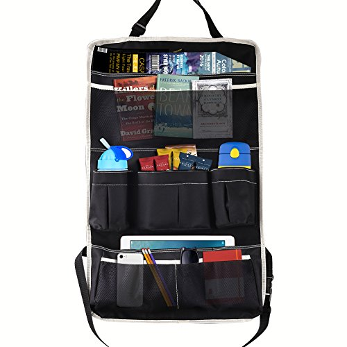 MoKo Multi-Pocket Car Backseat Organizer, Kick Mat Seat Back Protector, Foldable Travel Storage Bag Holder for Book / Bottle / Cool Beer / Tissue Box / Toys ( Black & Beige)