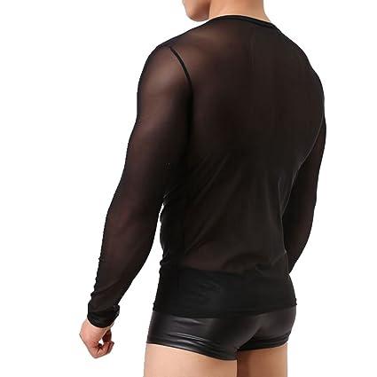 08996807d14410 Amazon.com: Igeon Men's Long Sleeve Mesh Sheer T-shirt Top Transparent  Undershirt: Clothing
