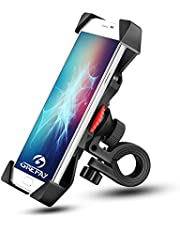 Bike Phone Mount Grefay Universal Bicycle/ Motorcycle Cell Phone Holder Smartphone Cradle Clamp 360° Rotatable for iPhone 7/7+/6/6+/6S/6S+/5S/5C, Samsung Galaxy S3/S4/S5/S6/S7/S8 Note 3/4/5,Nexus,HTC,LG & GPS Devices GPS Other Devices